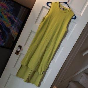 Asos sweatshirt high low dress lime green used